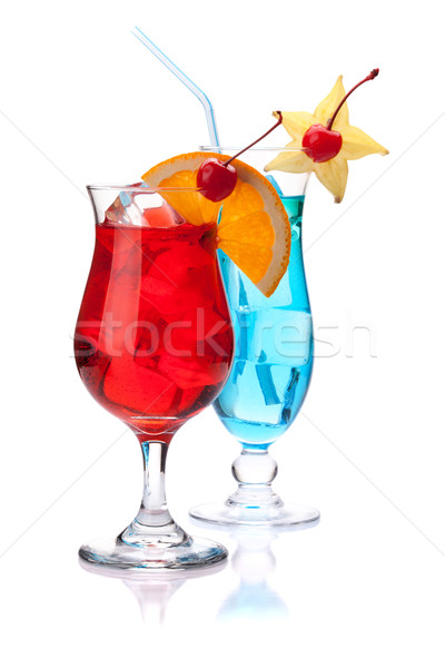 Stock photo: Two tropical cocktails: red and blue