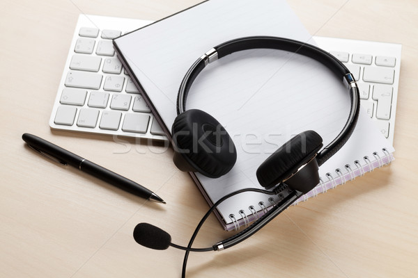 Office desk with headset. Call center support Stock photo © karandaev