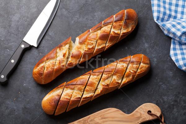 Cipó szeletel kenyér kő asztal felső Stock fotó © karandaev
