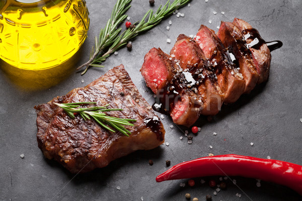 Grilled striploin steak Stock photo © karandaev