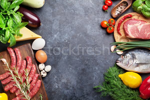 Stockfoto: Groenten · vis · vlees · ingrediënten · koken · tomaten