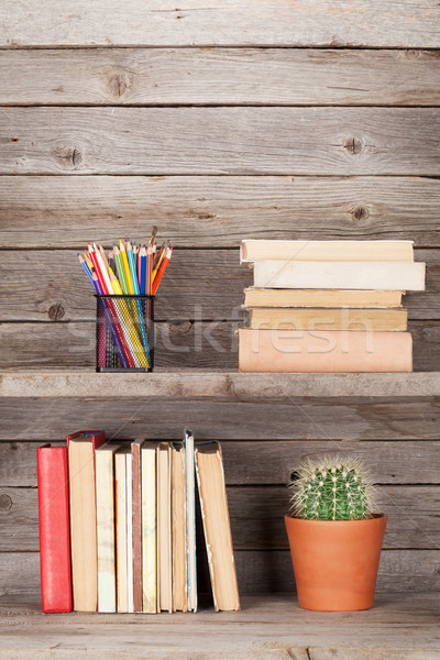Old books on a wooden shelf Stock photo © karandaev