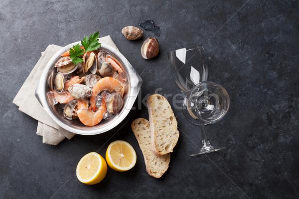 свежие морепродуктов белое вино каменные таблице Top Сток-фото © karandaev