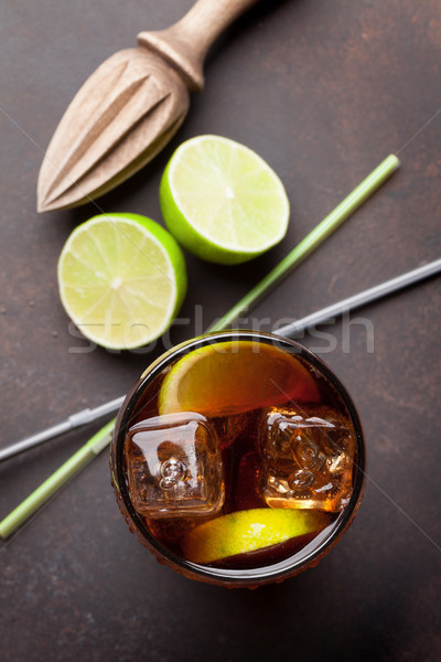 Cuba libre cocktail Stock photo © karandaev