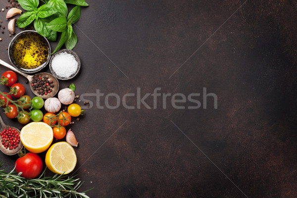 Tomatoes, basil, olive oil and spices Stock photo © karandaev
