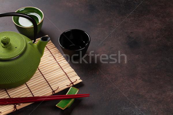 Stock fotó: Zöld · teáskanna · teáscsészék · kő · asztal · kilátás