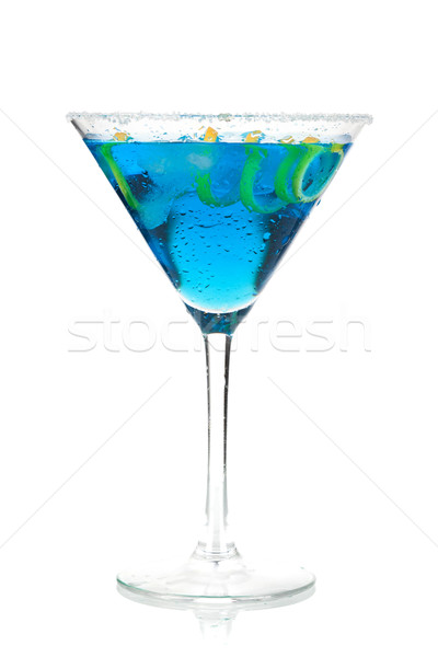 Cocktail collection - Blue martini with lemon spiral Stock photo © karandaev