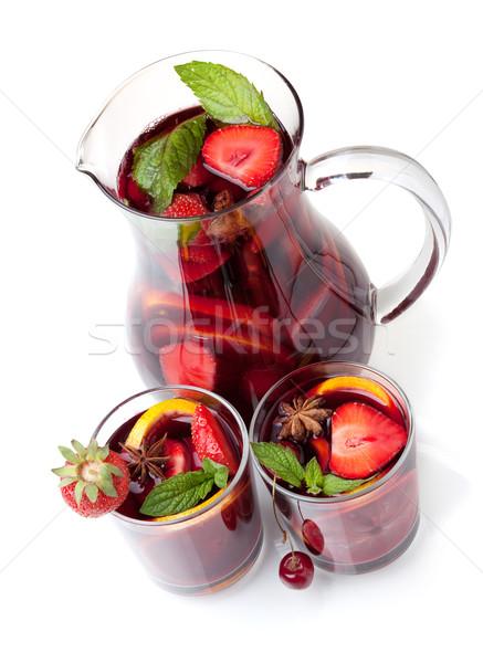 Foto stock: Frutas · jarra · dos · gafas · cóctel
