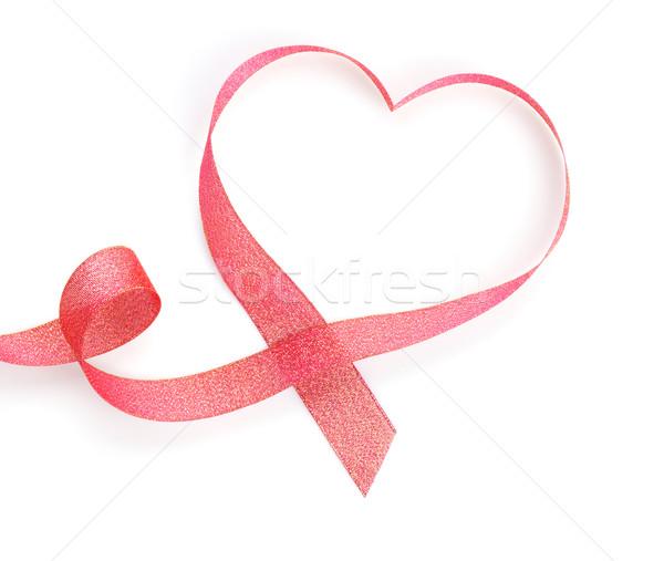 Valentine's Day heart shaped red ribbon Stock photo © karandaev