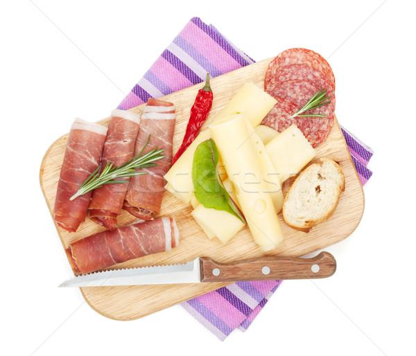 Sajt prosciutto kenyér zöldségek fűszer izolált Stock fotó © karandaev