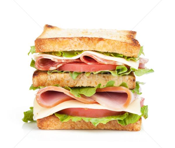 Brindis sándwich carne hortalizas aislado blanco Foto stock © karandaev
