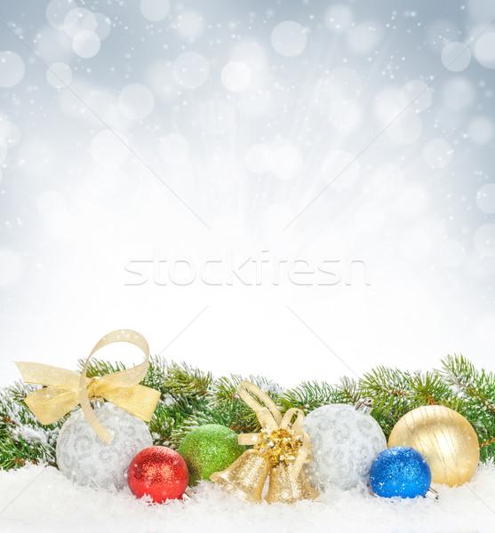 Stock fotó: Karácsony · színes · dekoráció · hó · fenyőfa · bokeh