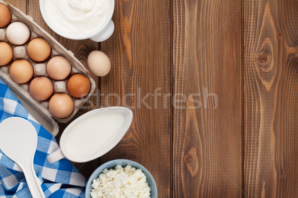 Stock photo: Dairy products. Sour cream, milk, cheese, egg, yogurt and butter