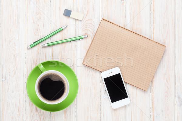 Stok fotoğraf: Tablo · kahve · fincanı · üst · görmek