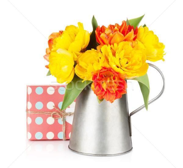 Színes tulipánok locsolókanna ajándék doboz izolált fehér Stock fotó © karandaev