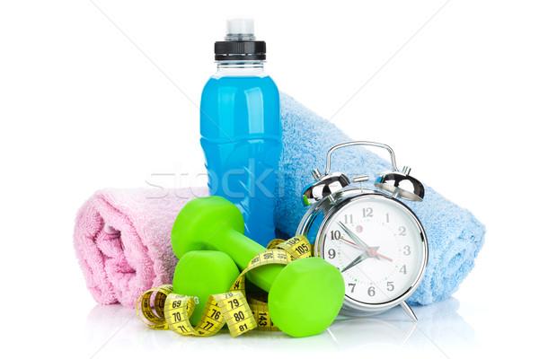Foto stock: Dos · verde · cinta · métrica · beber · botella · despertador