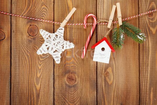 Stock fotó: Hó · fenyőfa · karácsony · dekoráció · kötél · rusztikus