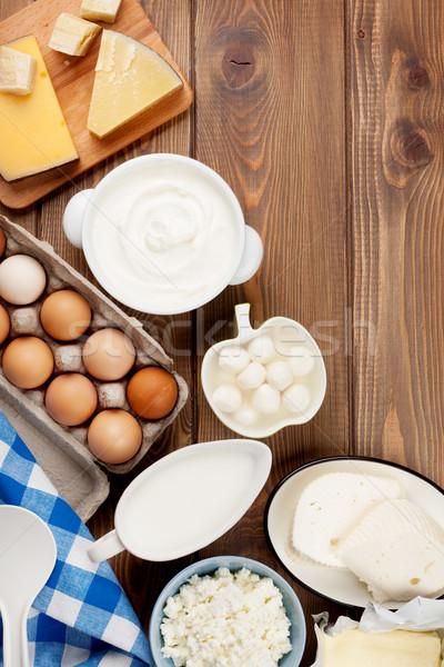 Zure room melk kaas eieren yoghurt boter Stockfoto © karandaev