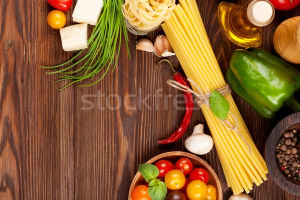 итальянской кухни приготовления Ингредиенты пасты овощей специи Сток-фото © karandaev