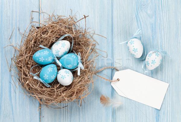 Пасху карт яйца гнезда синий деревянный стол Сток-фото © karandaev