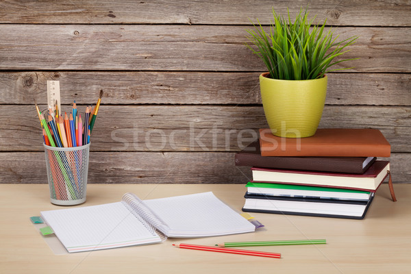Stock photo: Office desk workplace with supplies and plant