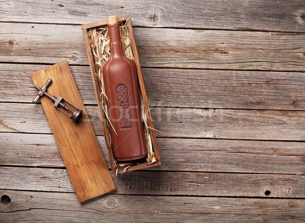бутылку вина окна деревянный стол Top мнение копия пространства Сток-фото © karandaev