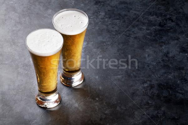 Lager beer glasses Stock photo © karandaev