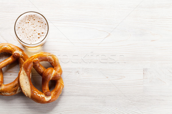 Lager beer and pretzel Stock photo © karandaev