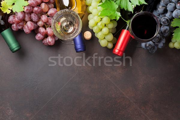 ワイングラス ブドウ 石 表 先頭 表示 ストックフォト © karandaev