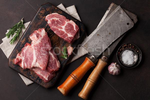 Nyers disznóhús hús főzés felső kilátás Stock fotó © karandaev