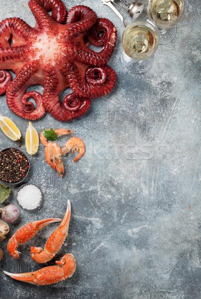 Tengeri hal polip homár főzés felső kilátás Stock fotó © karandaev