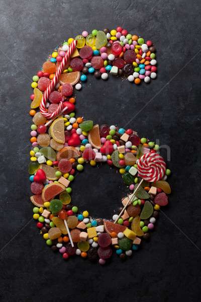 Number six made from candies Stock photo © karandaev
