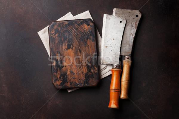 肉屋 ヴィンテージ 肉 ナイフ ボード まな板 ストックフォト © karandaev