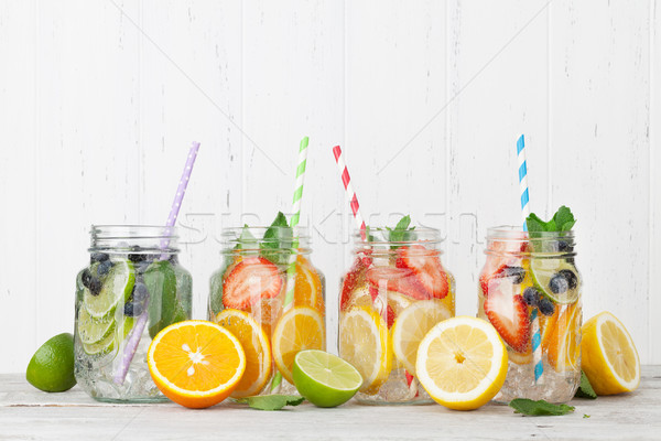 Stock photo: Fresh lemonade with summer fruits and berries