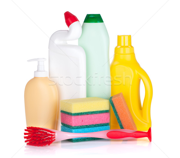 Stock photo: Plastic bottles of cleaning products, sponges and brush