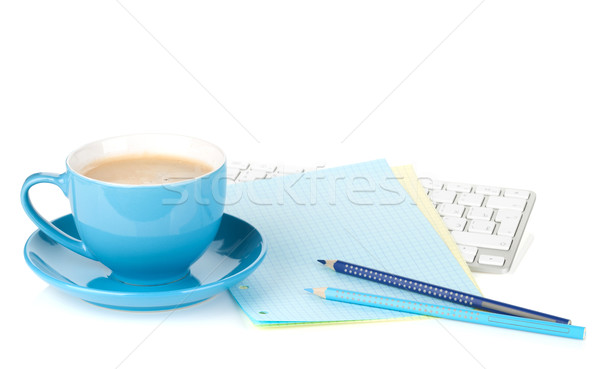 Stok fotoğraf: Mavi · kahve · fincanı · yalıtılmış · beyaz · iş
