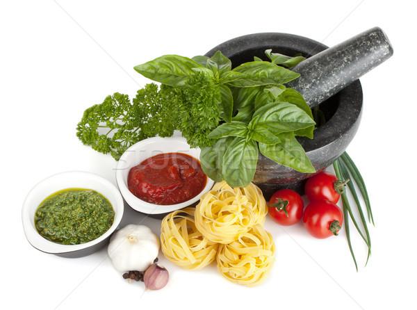 のイタリア料理 パスタ トマト 新鮮な ハーブ ペスト ストックフォト © karandaev