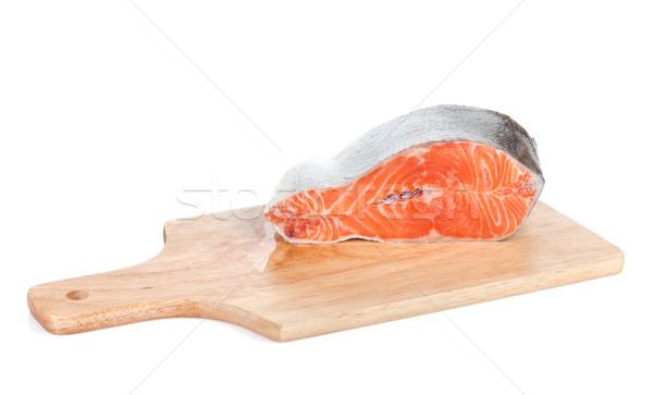 łososia deska do krojenia odizolowany biały żywności ryb Zdjęcia stock © karandaev