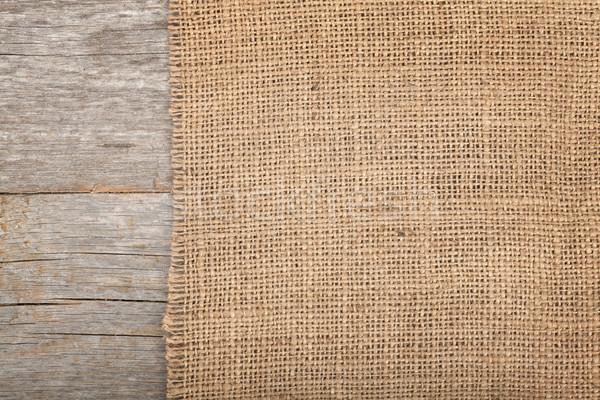 Pano de saco textura mesa de madeira madeira abstrato projeto Foto stock © karandaev