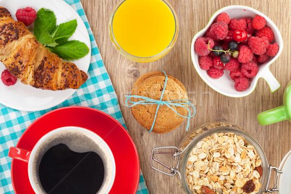 健康 朝食 ミューズリー 液果類 オレンジジュース コーヒー ストックフォト © karandaev