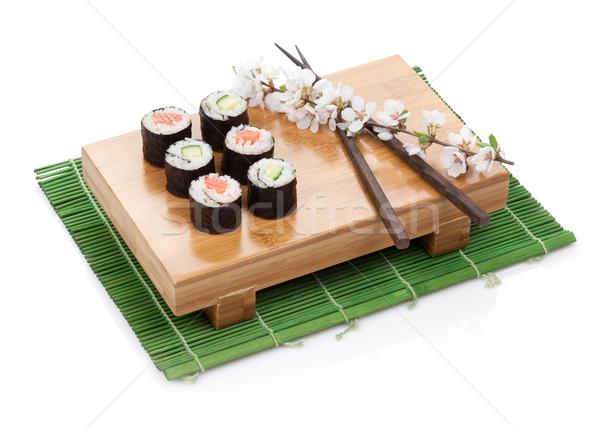 Stok fotoğraf: Sushi · maki · ayarlamak · somon · salatalık · sakura