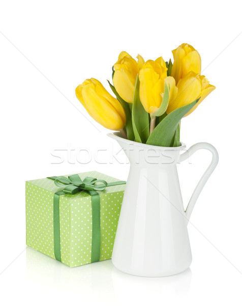 Citromsárga tulipánok kancsó ajándék doboz izolált fehér Stock fotó © karandaev