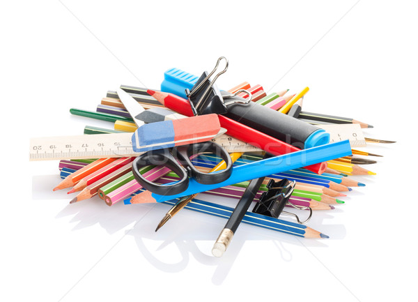 école tas isolé blanche stylo Photo stock © karandaev