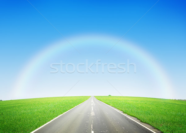 Road through the green field and sky with rainbow Stock photo © karandaev