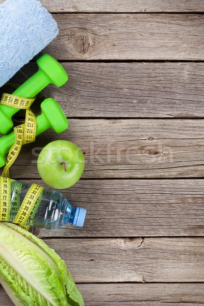 Zdrowa żywność fitness ciało jabłko liści owoców Zdjęcia stock © karandaev