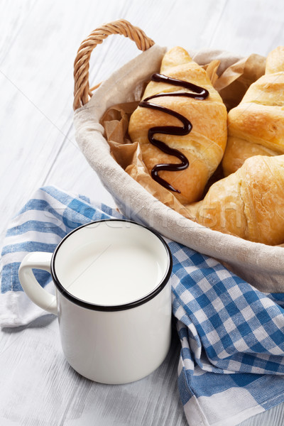 Stockfoto: Vers · croissants · mand · melk · houten · tafel · voedsel