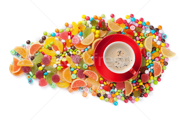 Colorful candies, jelly, marmalade and coffee Stock photo © karandaev