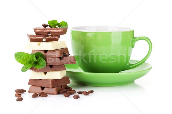 Stock fotó: Csokoládé · kávé · izolált · fehér · levél · ital