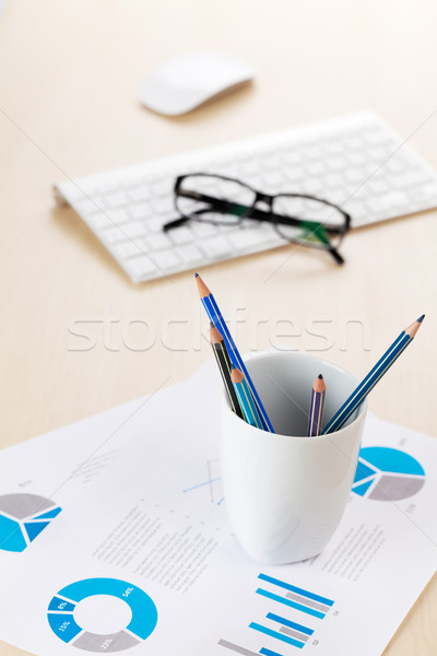 Office workplace with supplies Stock photo © karandaev
