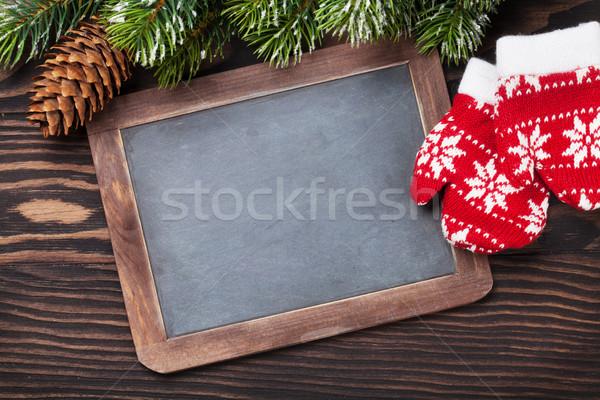 Karácsony tábla ujjatlan kesztyűk fa fenyőfa fa asztal Stock fotó © karandaev